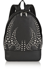 Studded textured-leather backpack
