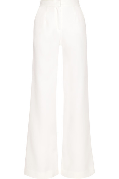 MOTHER OF PEARL WOOL-PIQUÉ WIDE-LEG PANTS