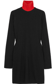 Ribbed-knit turtleneck tunic