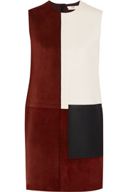 Patchwork suede and leather dress