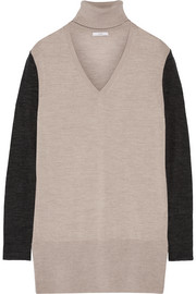 Two-tone merino wool turtleneck sweater