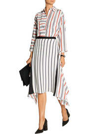 Asymmetric striped silk skirt