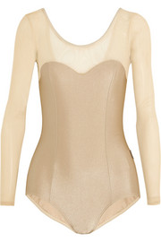 Mesh-paneled stretch leotard