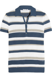 Striped open-knit polo top