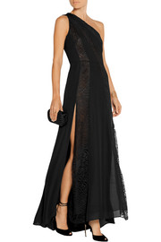 One-shoulder lace-paneled silk-chiffon gown