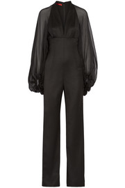 Lace and chiffon-paneled wool-blend jumpsuit