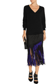 Wrap-effect fringed suede midi skirt