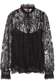 Leather-trimmed cotton-blend lace top