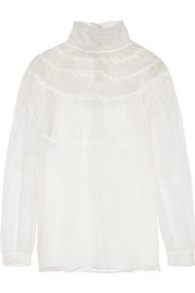 Chantilly lace-paneled silk-organza blouse