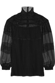 Lace-trimmed silk-chiffon top