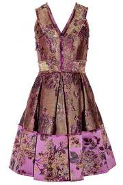 Fabienne metallic floral-jacquard dress