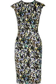 Analena printed stretch-ponte dress