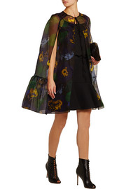 Angela printed silk-organza cape