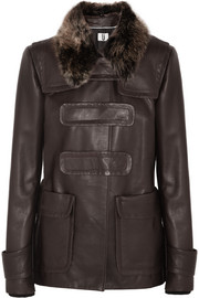Inverness shearling-trimmed leather jacket