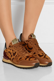 Valentino Suede, leather and calf hair sneakers