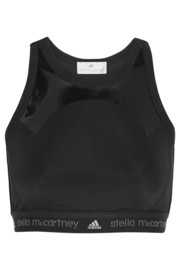 Mesh-paneled stretch-jersey sports bra