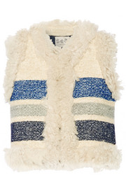 Shearling-trimmed striped silk and wool-blend jacquard vest
