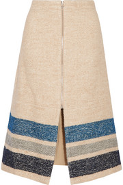 Striped silk and wool-blend midi skirt