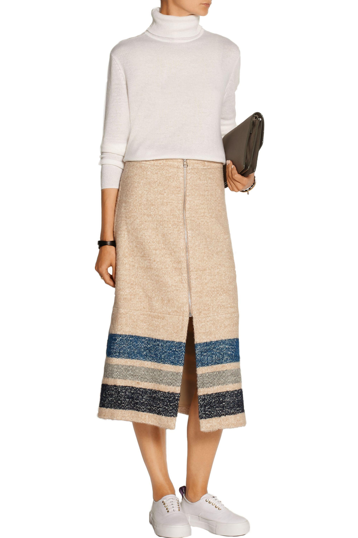 Sea Striped silk and wool-blend midi skirt