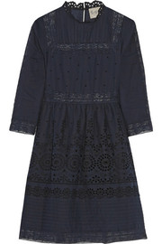Daisy lace-paneled broderie anglaise cotton dress