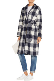 Belted gingham knitted coat