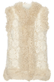 Shearling-trimmed guipure lace gilet