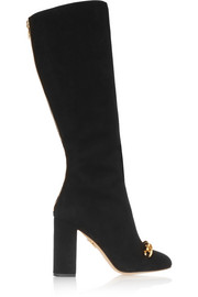 Barbara embellished suede knee boots