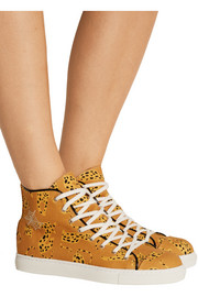 Printed canvas high-top sneakers