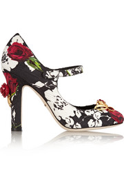 Embellished floral-print brocade Mary Jane pumps