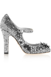 Sequined velvet Mary Jane pumps