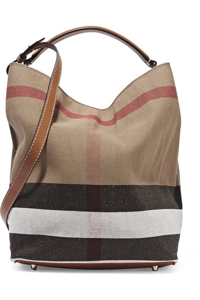 Burberry Leather Trimmed Checked Canvas Hobo Bag