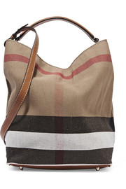 Brit leather-trimmed checked canvas hobo bag