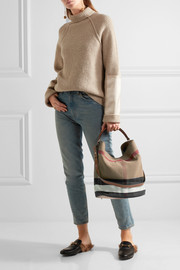 Burberry Leather-trimmed checked canvas hobo bag