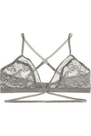 Winona lace, tulle and velvet soft-cup triangle bra