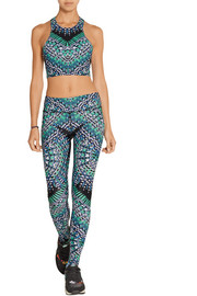 Printed cutout stretch sports bra