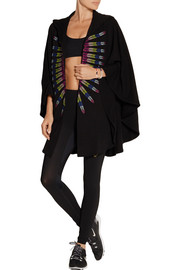 Embroidered French cotton-terry hooded cape