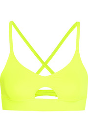 Neon stretch-jersey sports bra