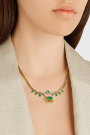 Revival 18-karat gold, diamond and emerald necklace