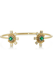 18-karat gold, diamond and emerald cuff