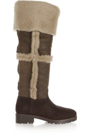 Talouse textured-leather and shearling knee boot