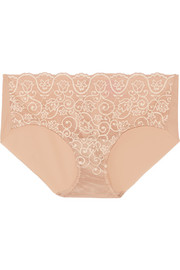 Paneled stretch-lace briefs