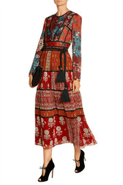 Paneled printed canvas and silk-georgette midi dress