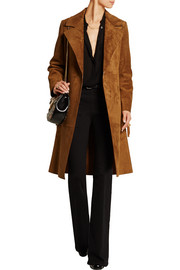 Fringed suede trench coat