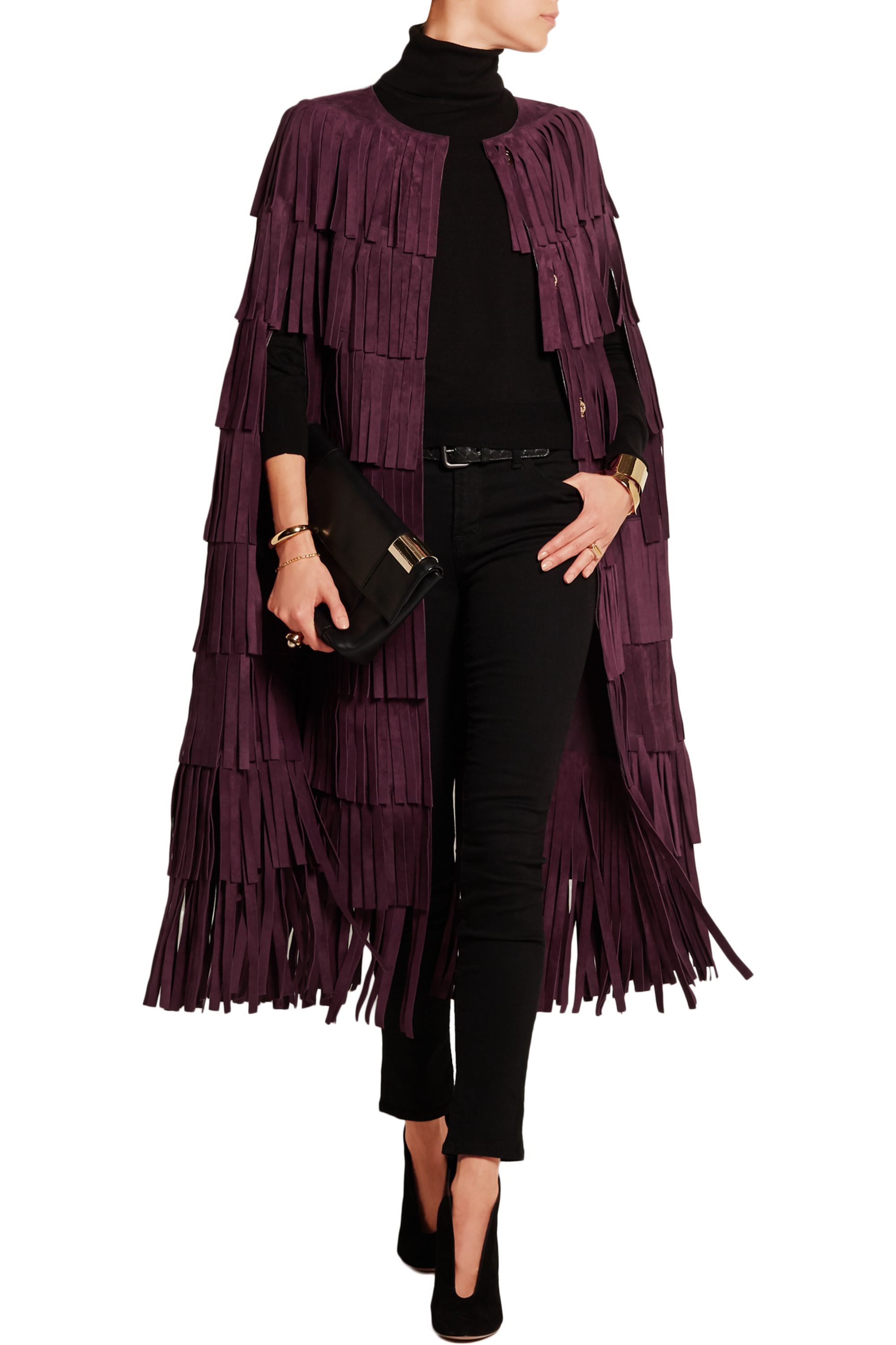 Burberry Fringed suede cape