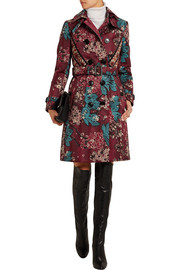 Embroidered floral-print cotton-blend trench coat