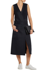 Ribbed-knit and wool and cashmere-blend felt dress