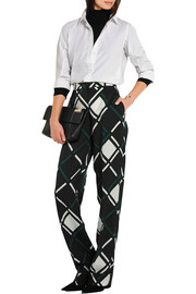 Printed satin-twill tapered pants