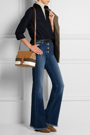 Brit striped canvas and textured-leather shoulder bag