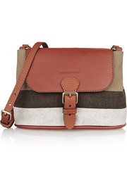 Burberry London Brit leather-trimmed checked canvas shoulder bag