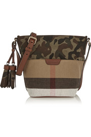 Brit leather-trimmed printed canvas shoulder bag